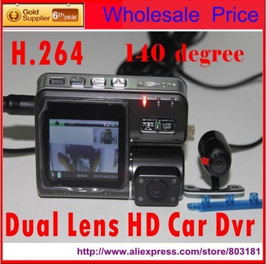 201208 Russian language Dual lens HD Car DVR with Wide Angle 120 Degree 720P 2.0 Mega Pixels Support External SENSOR H.264