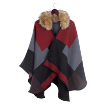 Brand design Women Multicolor Tartan Plaid Poncho Shawl Scarf Faux Fur Pashmina Collar Winter Scarves Cape FEAL S177