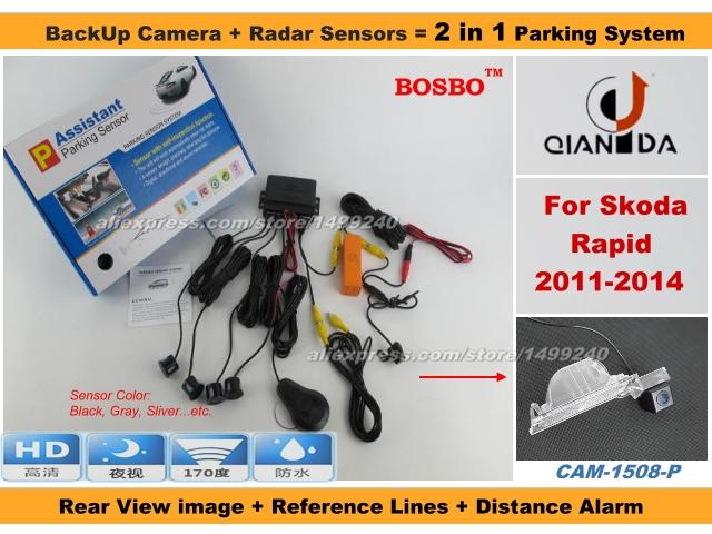 Фотография For Skoda Rapid 2011-2014 - Car Parking Sensor+ Rear View Camera 2in1 Assistance System - 4 Radars
