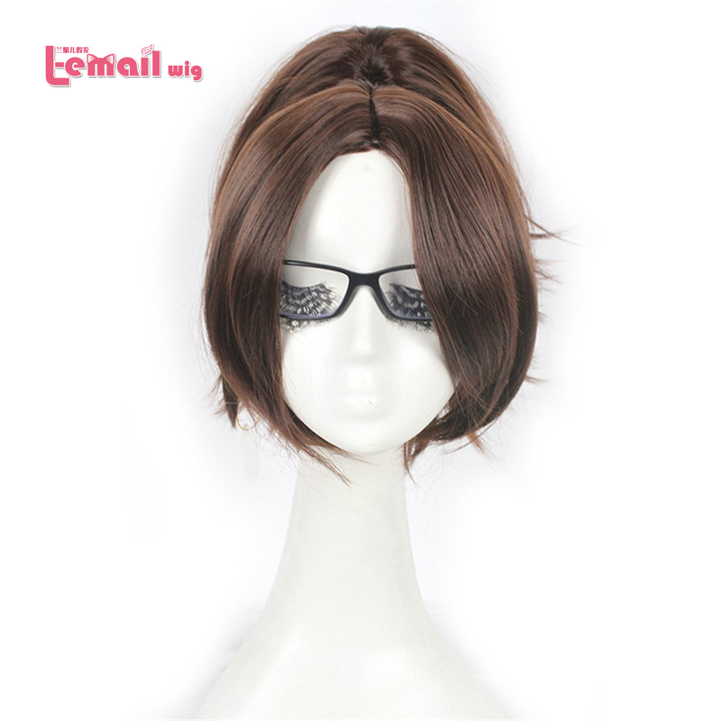 Free Shipping Attack on Titan 35cm short brown Hanji Zoe women cosplay wigs anime party hair wigs ZY60(China (Mainland))