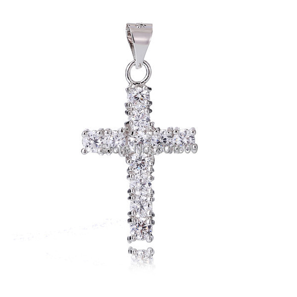 Free Shipping 1pc Silver Cross Pendant AAA White Cubic Zirconia Lucky Cross woman's Charm (DIY Necklace) Drop Pendant TA495(China (Mainland))