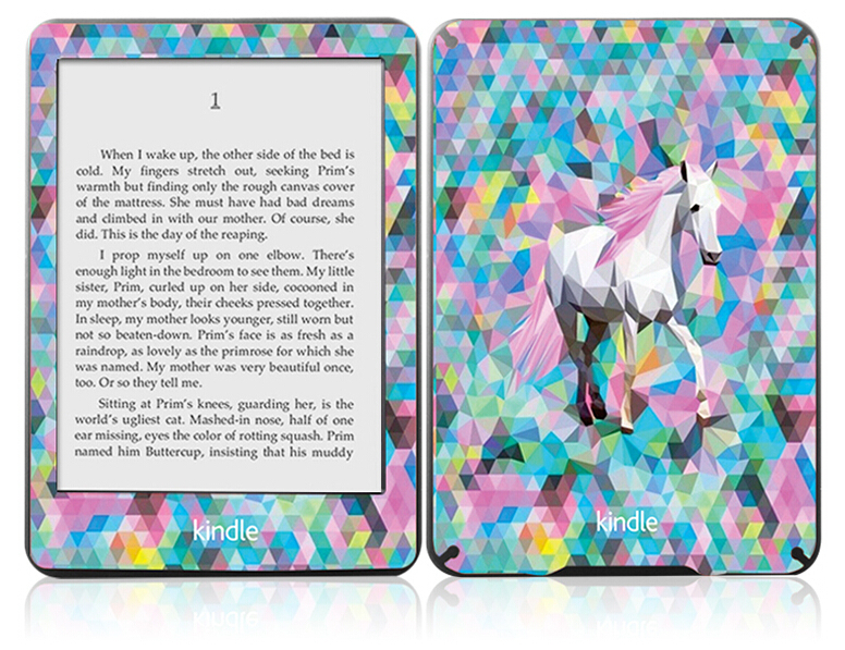New Fashion 3D Print Kindle Paperwhite Full Body Skin Kit / Decal -Colored Horse, Colorful Art Sticker Ebook Reader Skin(China (Mainland))