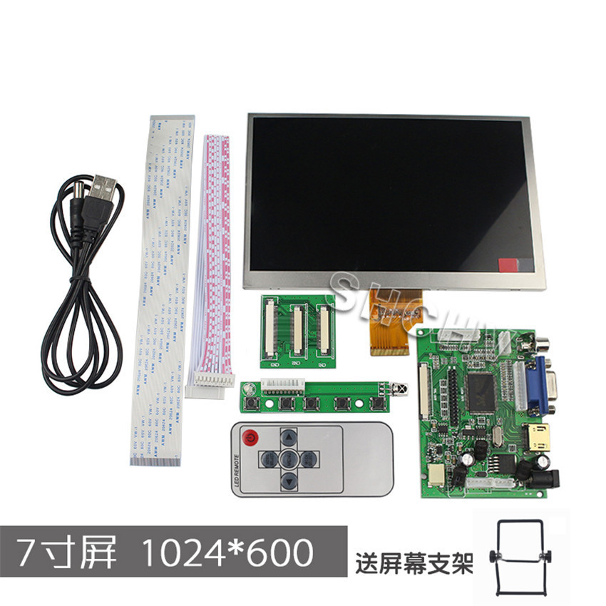 Raspberry pie 2 and 7 inch screen resolution of 1024 * 1024, high-definition HDMI VGA display input HDMI Screen(China (Mainland))