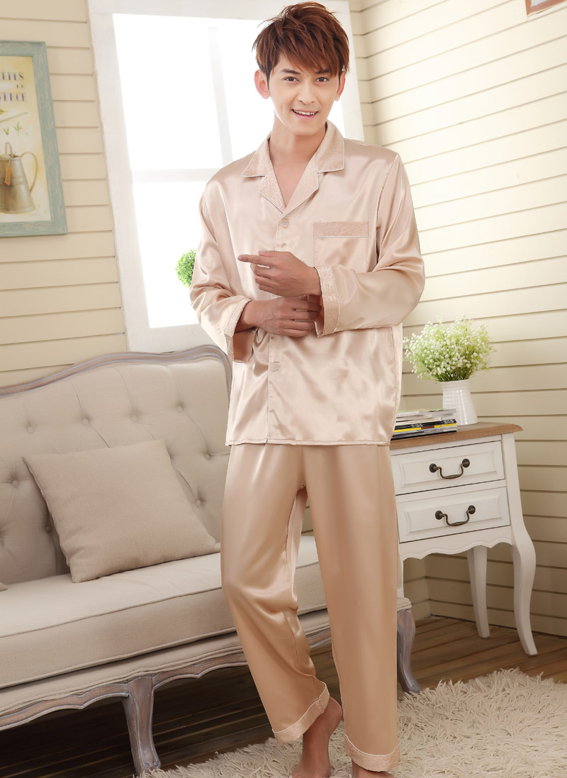 long sleeve faux silk Sleepwear pajama sets for men women,men's pyjamas women's pijiamas female homewear male nightwear