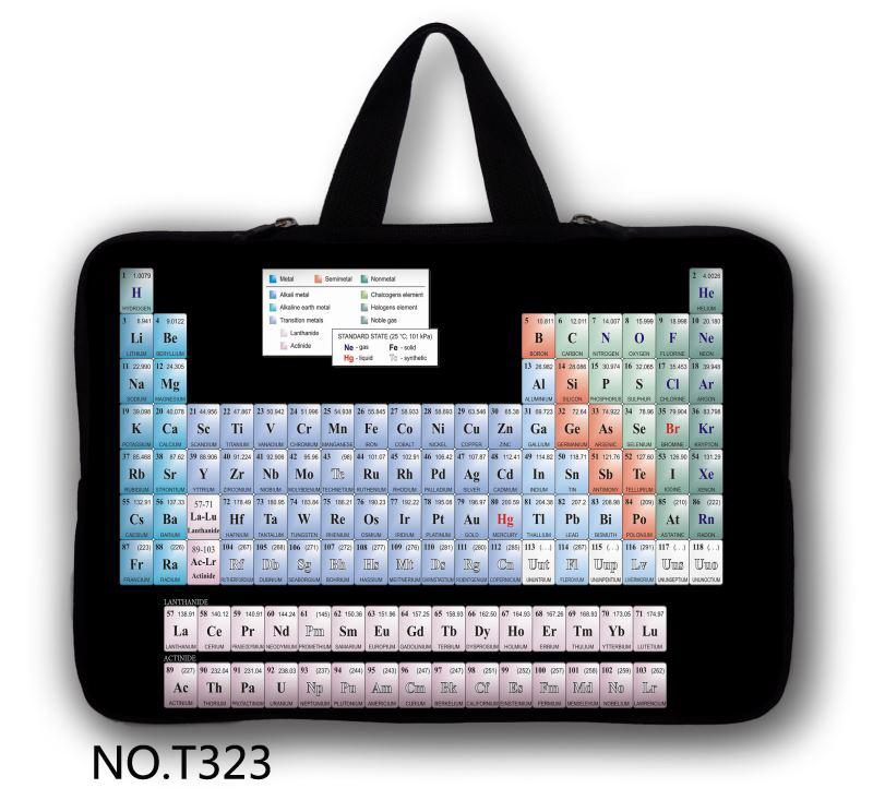 Periodic Table Laptop Bag 7'' 10'' 12'' 13'' 15'' inch Laptop Sleeve Case 15.6 Notebook Computer Handbag Accessories 13.3(China (Mainland))