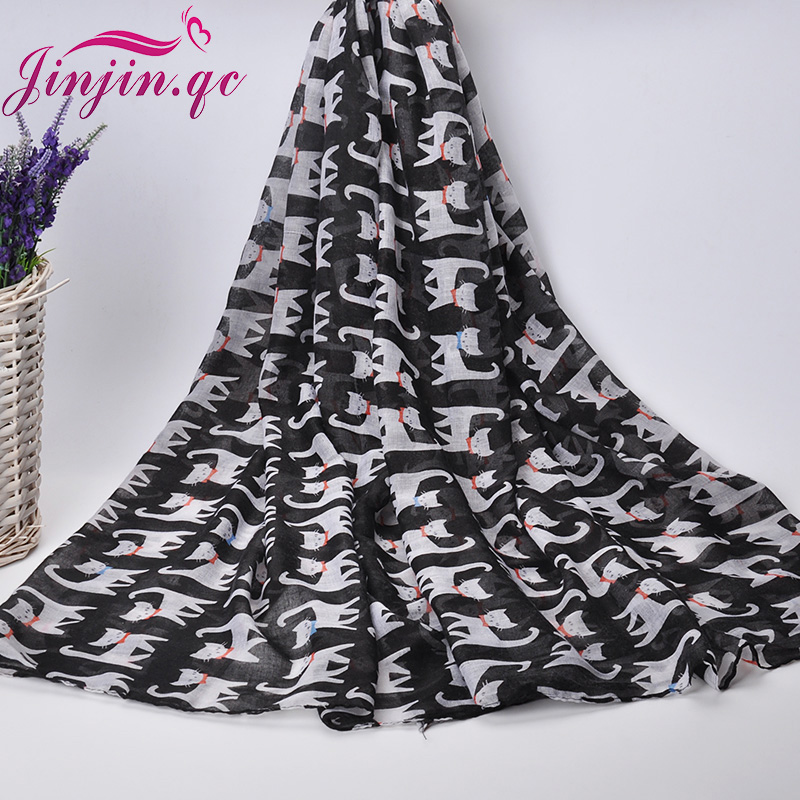 2016 New Trending Style Kitty Printed Voile Scarves and Shawls Muslim Women Hijab Sunscreen Soft Beach Shawl and pashmina(China (Mainland))