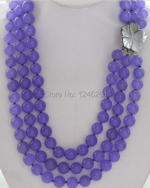 Fashion 3row AAA+ 8mm Round Purple Jade Necklace Long Rope Chain Flower Clasp Beads Jewelry Natural Stone 68inch(Minimum Order1)(China (Mainland))