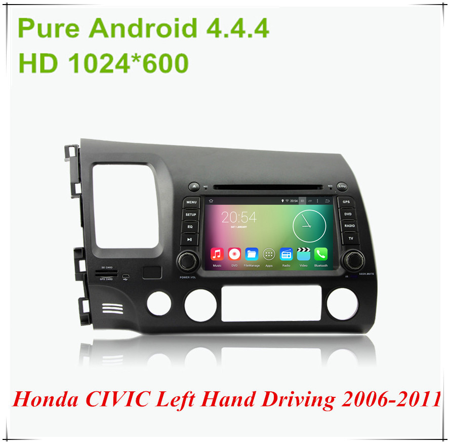 """Android 4.4.4 HD 1024*600 Quad core 1.6GHz Nand Flash 16GB 7"""" Car DVD player For Honda CIVIC Left Hand Driving 2006-2011(China (Mainland))"""