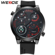 WEIDE Original Brand Men Sports Watches With Compass Analog Silicone Strap Dual Time Zones Water Resistance Army Military Watch