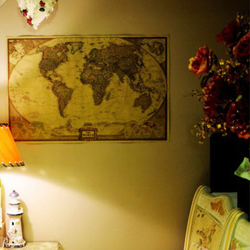 World Map Vintage Poster Retro Paper Kraft Wallpaper Home Decoration Map Of The World Wall Sticker(China (Mainland))