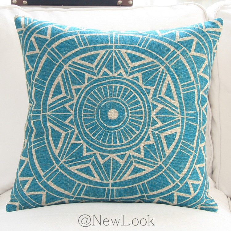 Turquoise Geometric Linen Decorative Throw Pillows Decorate for a Sofa Cushion Cover Pillow ...
