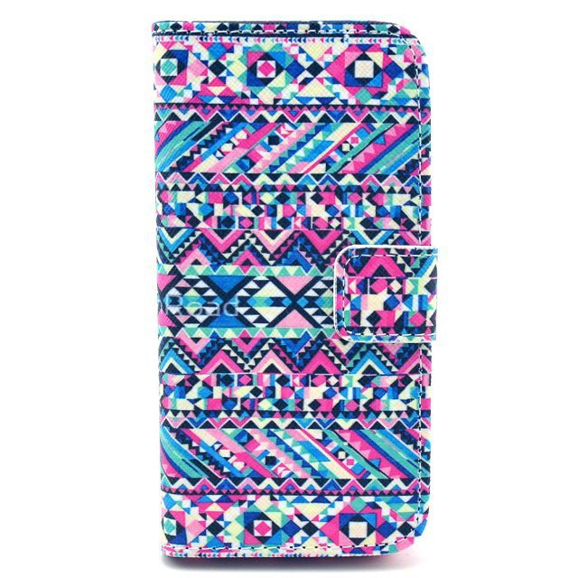 Tribal Aztec Colorful Geometric Puzzle Magnetic Flip PU Leather Wallet Card Stand TPU Case Cover For Iphone 5 5G 5S(China (Mainland))