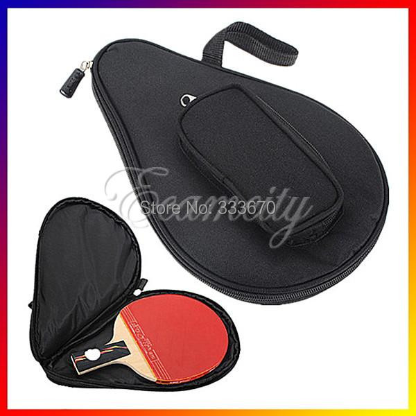 Nylon Waterproof Black Table Tennis Racket Bag for Ping Pong Paddle Bat Sport Case with Ball Pouch Two side pips-in rubber(China (Mainland))
