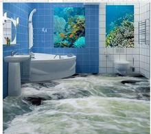 Custom photo floor wallpaper 3D stereoscopic 3D waterlines floor 3d mural PVC wallpaper self-adhesion floor wallpaer 20157640(China (Mainland))