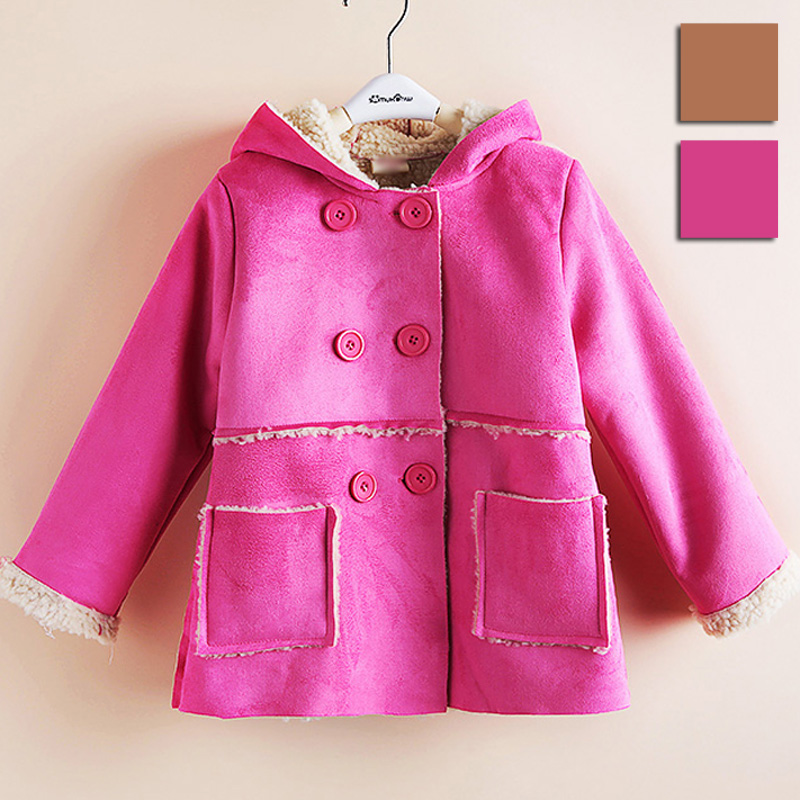 Children's clothing female child autumn and winter 2013 suede fabric berber fleece thermal with a hood overcoat outerwear trench(China (Mainland))