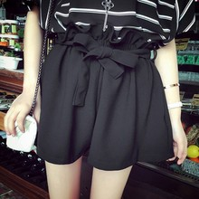 Vintage 2016 Women Wide Leg Casual Skirt Shorts Loose Fit Pleated Shorts Culottes Saia With Bow Belt