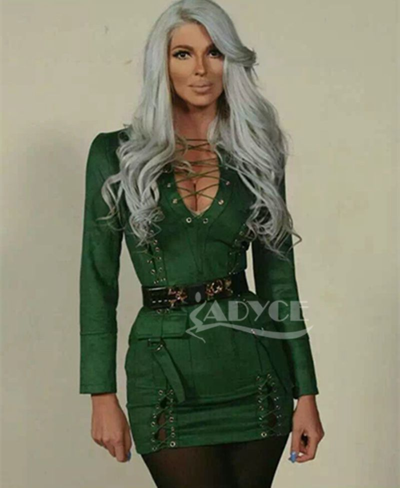 2016 new women Faux Suede Dress black green  khaki hollow out deeep V-neck sexy khaki long sleeves sexy party dress Wholesale