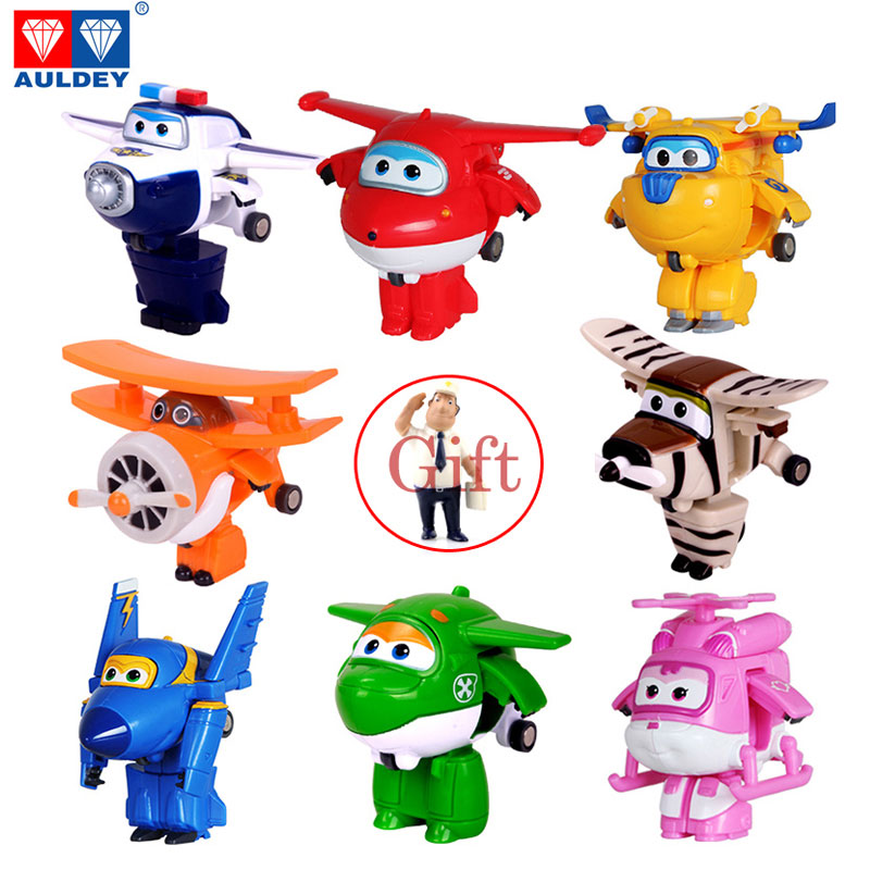 8PCS/Set AULDEY Super Wings Mini Airplane ABS Robot toys Action Figures Super Wing Transformation Jet Cartoon Children Kids Gift(China (Mainland))