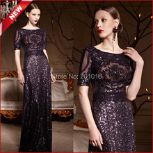 Coniefox Purple Sequined Plus/Large Size Luxury Formal Evening Gowns Woman Elegant Long Evening Dresses(China (Mainland))
