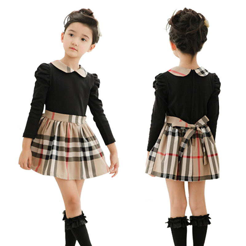 Brand baby girls dress autumn spring Girl's Fashion Apparel 2~7Age Kids dress party princess girls' dresses plaid Cotton(China (Mainland))
