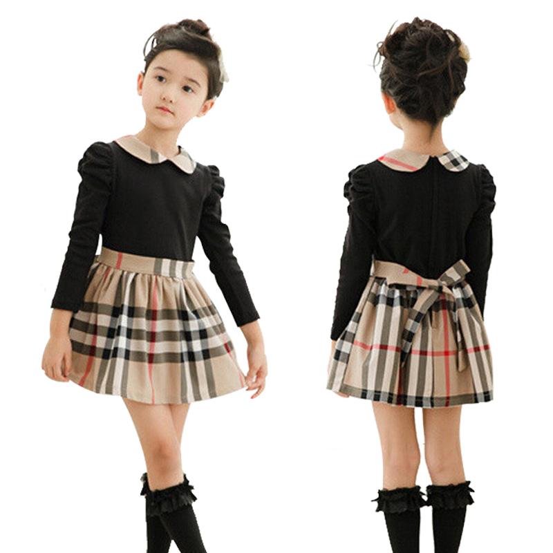 Brand baby girls dress autumn spring Girl's Fashion Apparel 2~7Age Kids dress party princess girls' dresses plaid Cotton(China (Mainland))