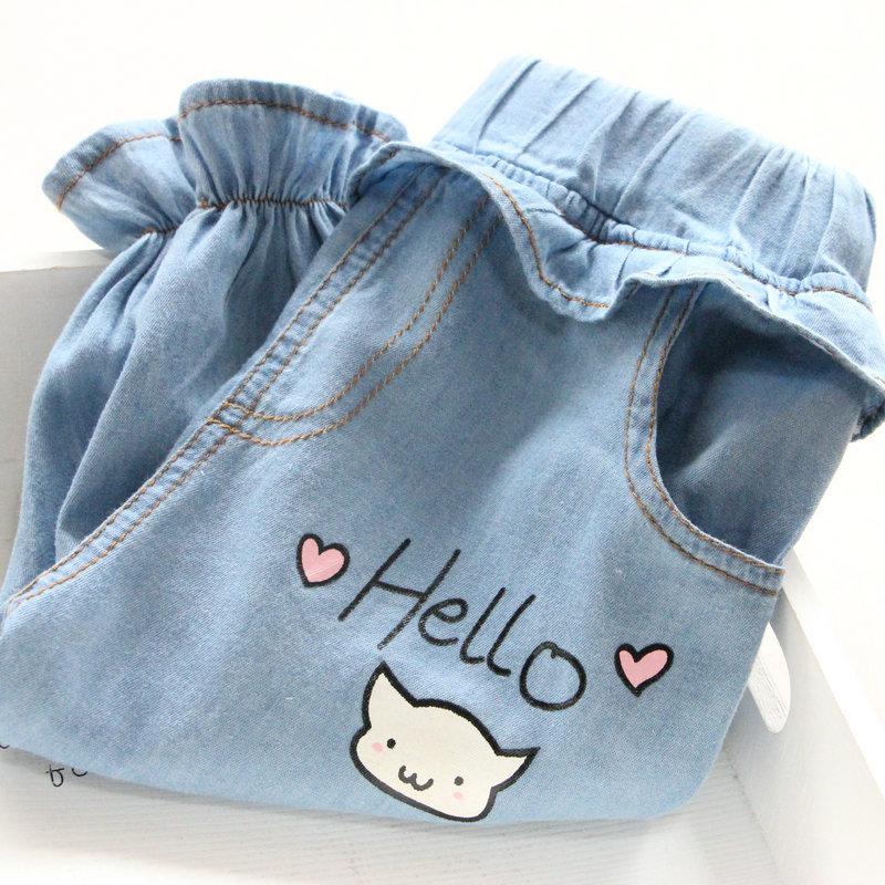 Baby Girls Print Casual Pants Kids Girl Summer Cute Harem Jeans Children Clothes Kinderkleding Meisjes(China (Mainland))