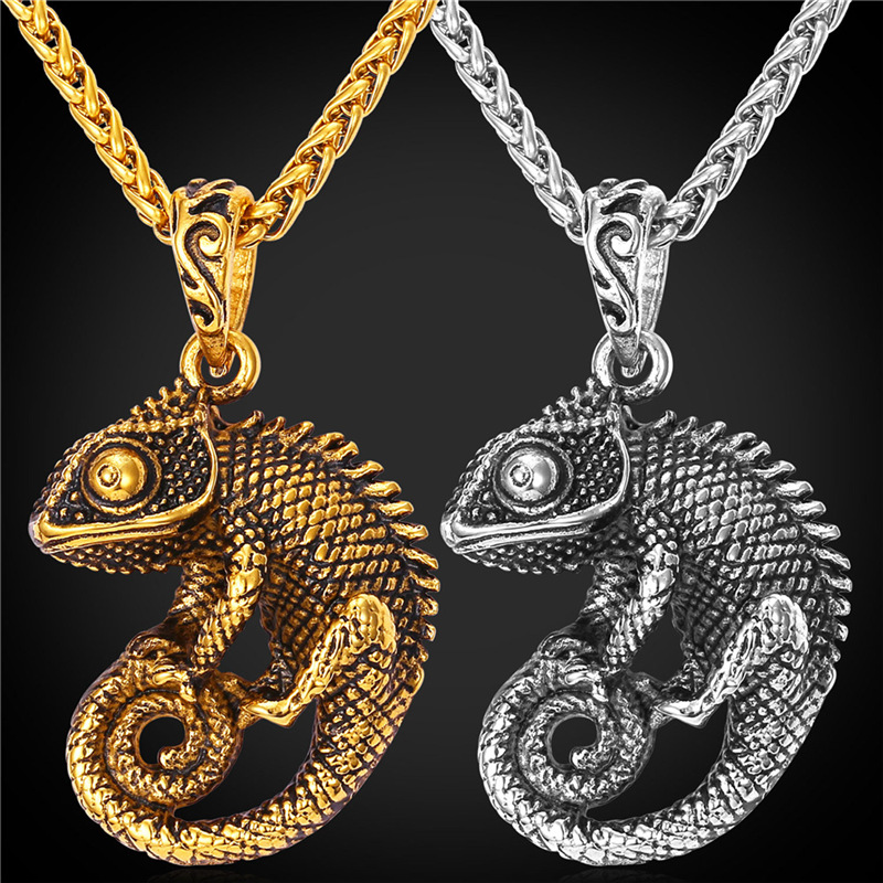 18K Real Gold Plated / Stainless Steel Cabrite Lizard Necklace & Pendant Fashion Gothic Punk Necklace Men Animal Jewelry GP1122(China (Mainland))