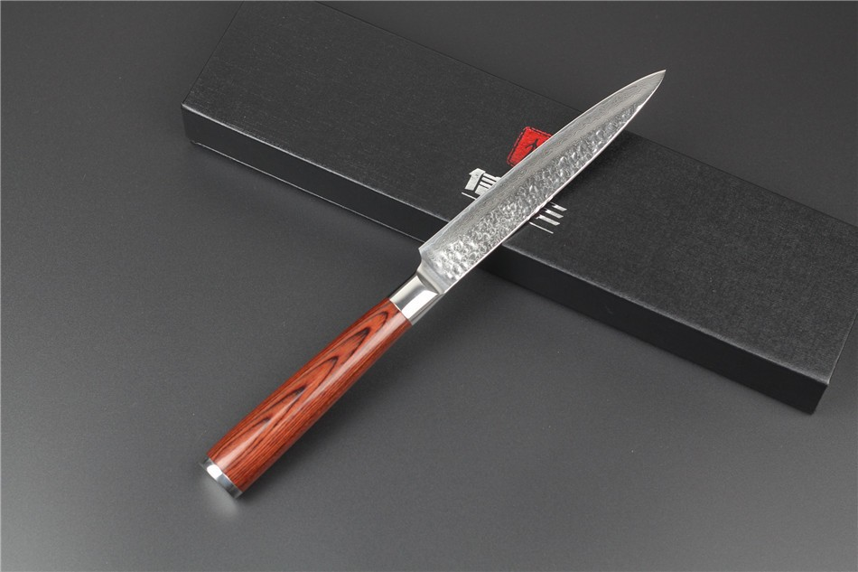 "Buy 2015 New 73 layers 5""multi-purpose knife Japanese Damascus steel kitchen knife paring knife with Color wood handle free shipping cheap"