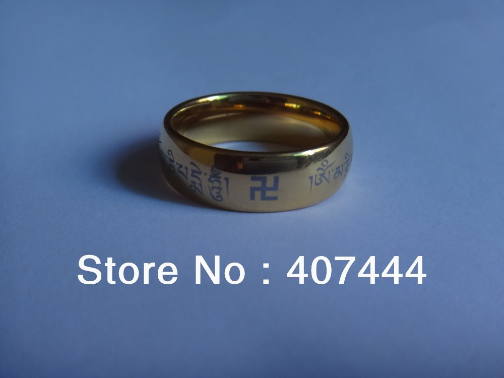 Free Shipping Buy Cheap Discount Jewelry USA Hot Sales 8mm Men's Tungsten Tibetan Buddhism Scripture Wedding Ring US sizes 4-15(China (Mainland))