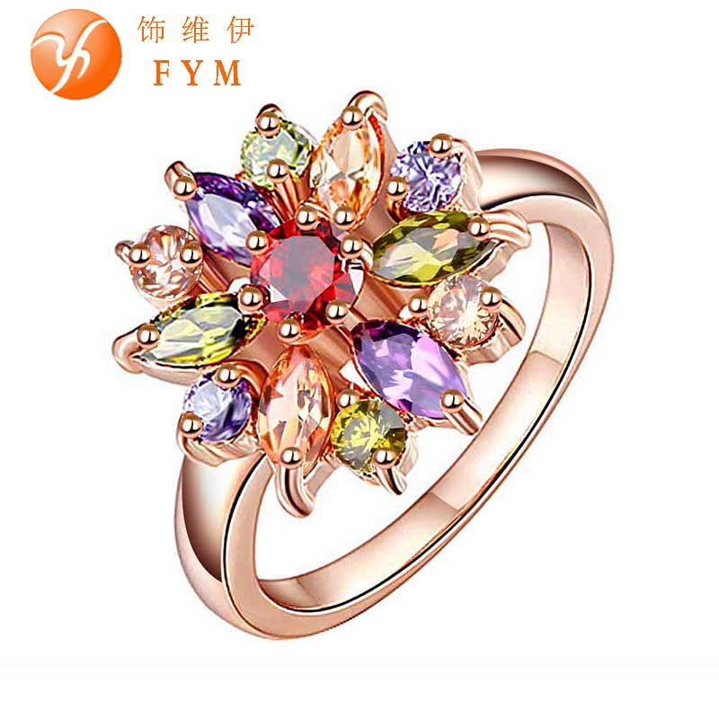 FYM New Fashion Multicolor Cubic Zircon Ring for Women Finger Jewelry Colorful Rose Gold Plated Bride Engagement Ring Wholesale(China (Mainland))