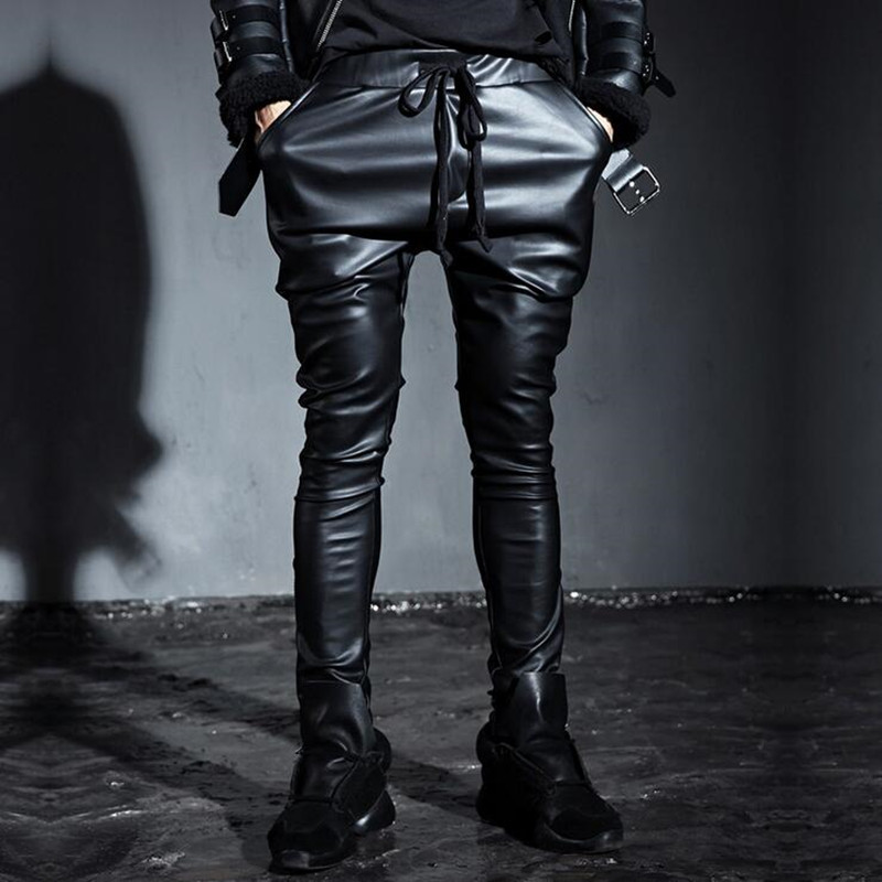 popular men leather harem pantsbuy cheap men leather