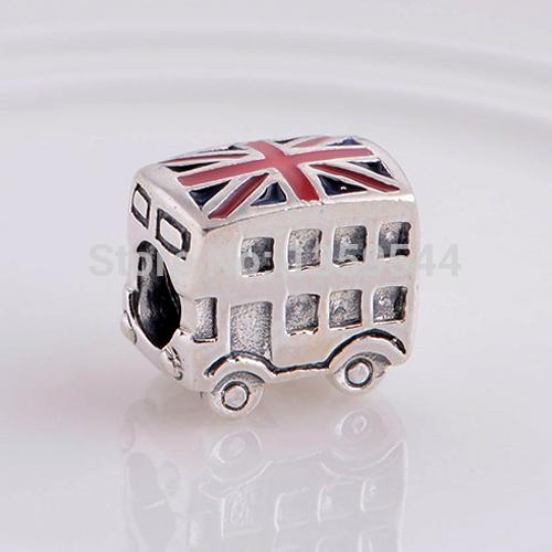 London Bus & UK National Flag 100% 925 Sterling Silver Charm Bead Fits Pandora European Charms BraceletG2(China (Mainland))