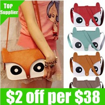 Retail free shipping 1pcs/lot 2013 new fashion ladies retro shoulder bag/PU  cartoon cute School tote owl fox women bags