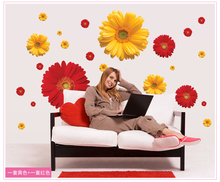 1Set ZY6015 rDaisy Flower Living Room Vinyl 3D Wall Stickers Window Decor Bedroom Wall Decals Sticker To The Kitchen On The Door(China (Mainland))