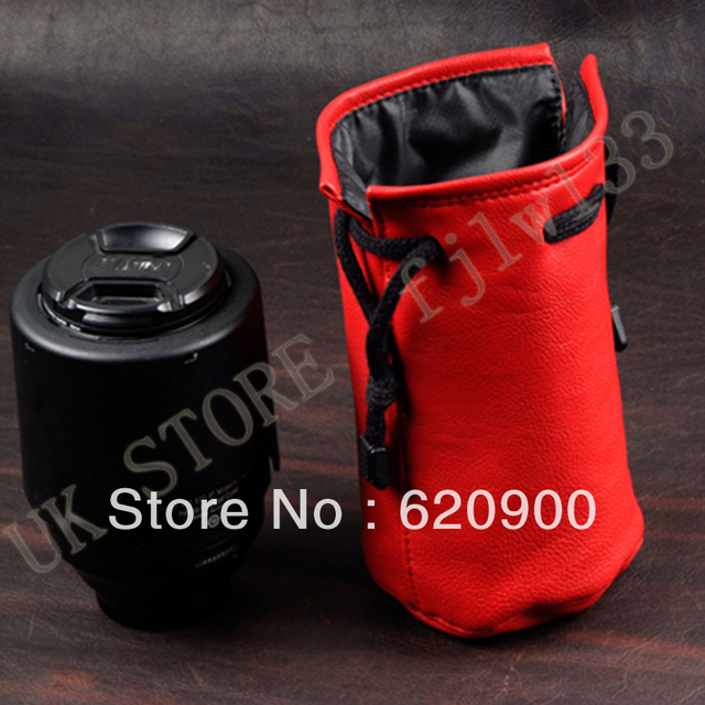 100% GUARANTEE  PRO-C4 SOFT LEATHER RED LENS POUCH BAG CASE 18-200 24-105L 100*170mm