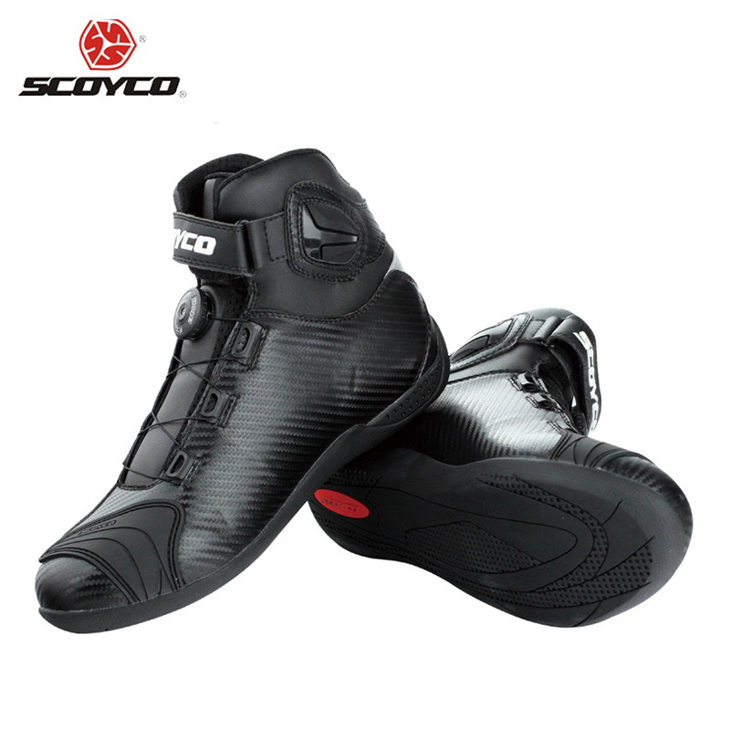 SCOYCO Black leather Motocross Ankle Boots Motorcycle Touring Riding Boots Shoes with PP Shell Protection ATOP Buckles(China (Mainland))