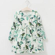 Spring/Autumn new arrive models children dress tree branch and bird printing long sleeve kids dresses 1-12Y