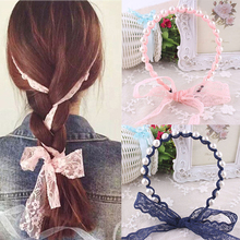 Buy LNRRABC Women Flower Lace Headbands Elastic Imitated Pearl Bow Hair Bands Hair Accessories Hairbands turbante hair ties for $1.11 in AliExpress store