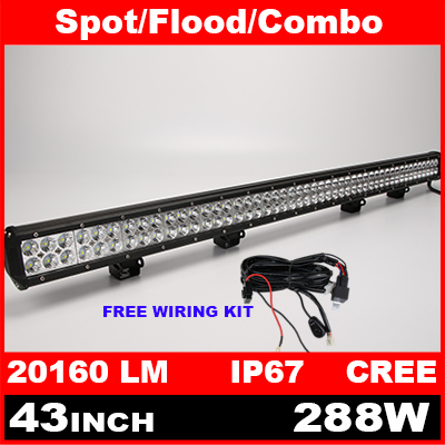 43 Inch 288W Cree LED Work Light Bar + Wiring Kit for Off Road Work Driving Offroad Boat Car Truck 4x4 SUV ATV Spot Flood Combo(China (Mainland))