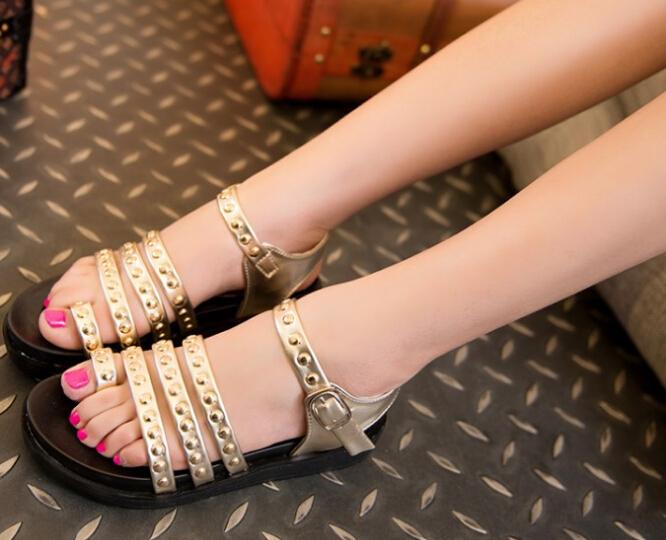 Women's rivets wedges sandal open toe low heel solid sandals punk beach shoes ankle-wrap PU - Green YoYo's House store