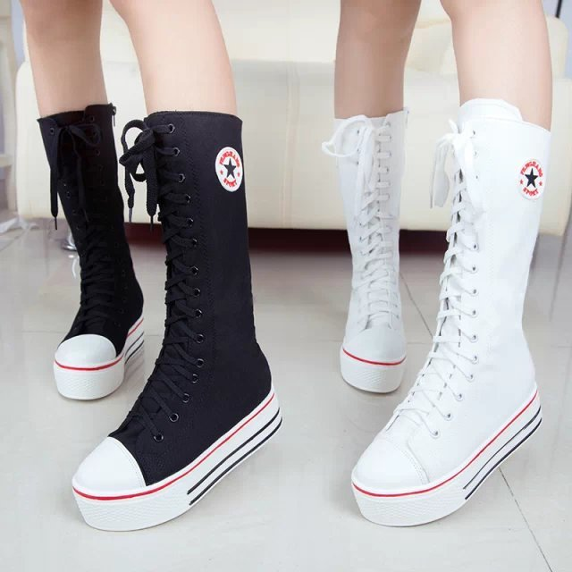 FREE SHIPPING 2015 spring and autumn over the knee canvas boots female flat student flat shoes(China (Mainland))