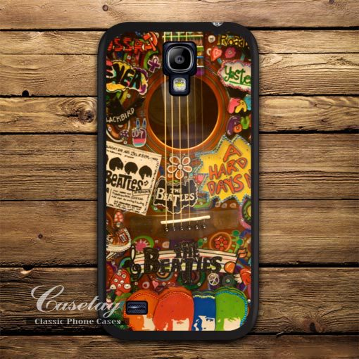 Retro The Beatles Hippie Guitar Case For Galaxy S5 S4 S3 mini Note 4 Win i8552 Mega 6.3 Ace 3 2 Duos Vintage High Quality Cover(China (Mainland))