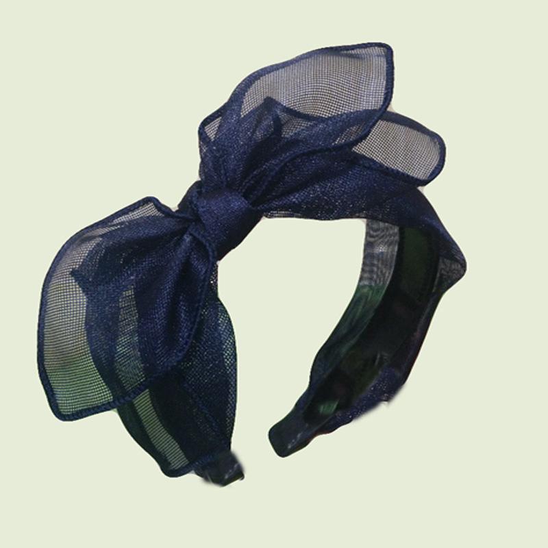 2016 double-deck net yarn, cloth art hair hoop women bow head band Pure color hair band hair accessories(China (Mainland))