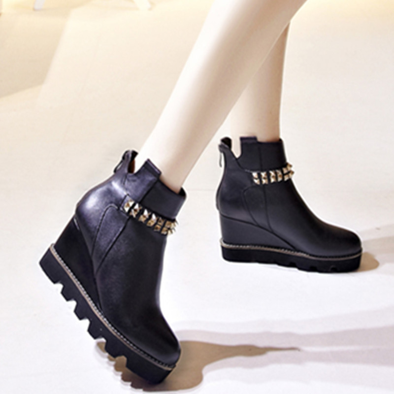 new arrive 2015 autumn winter boots fashion women shoes genuine leather wedges heels round toe platform ankle boots<br><br>Aliexpress