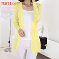 The new spring and summer ice silk knit Girls long hollow thin Cardigan coat big yards