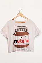2015 New Hot Sale Fashion Women Tank Nutella Print Crop T-Shirt Tops Short Sleeve Shirt F1003