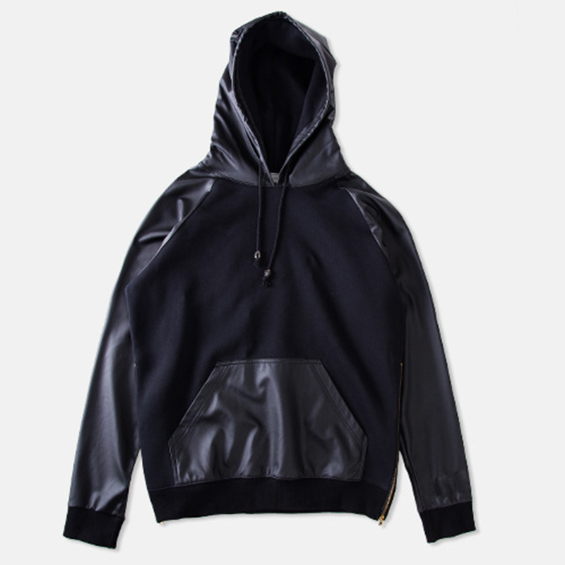 Leather hoodies for men