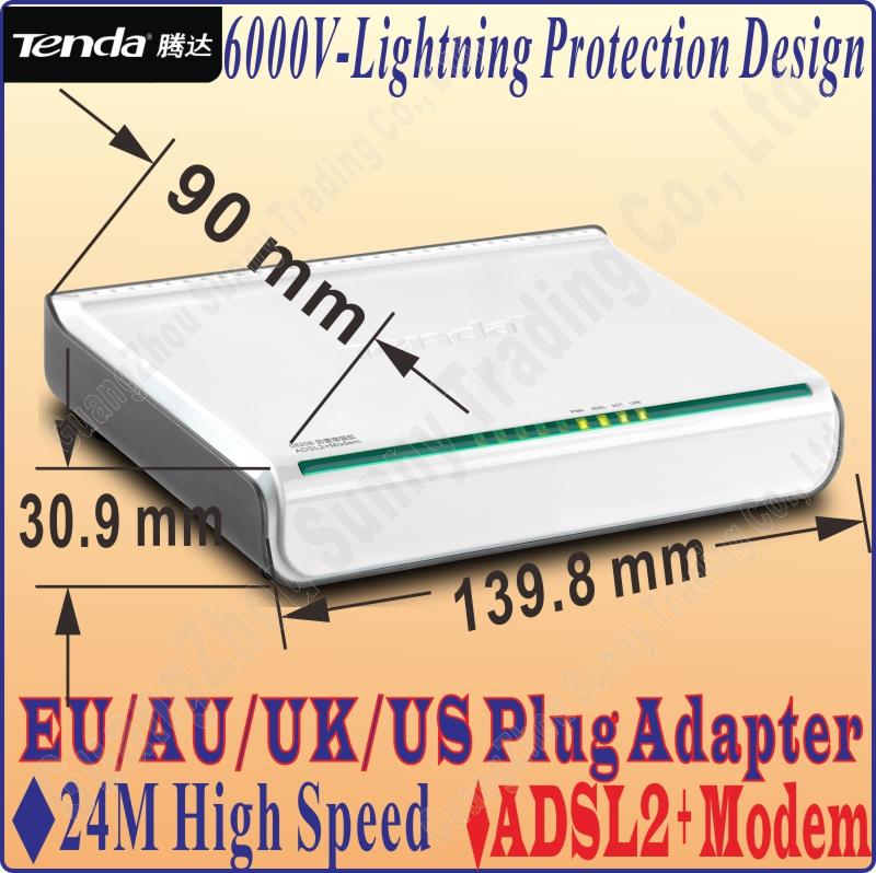 Ee.uu. / EU / UK / AU Plug Tenda D820B alta velocidad DSL módem de Internet ADSL 2 + Router con cable, ADSL módem de banda ancha No Color caja del paquete de baile -(China (Mainland))