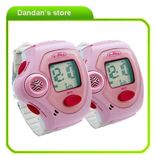 Lovely pink watch walkie talkie 820 1 pair kids walkie talkie free shipping(China (Mainland))