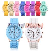 2015 New Casual Watch Geneva Unisex Colorful Silicone Jelly Wristwatch Men Women Child Geneva Wrist Watch(Assorted Colors)